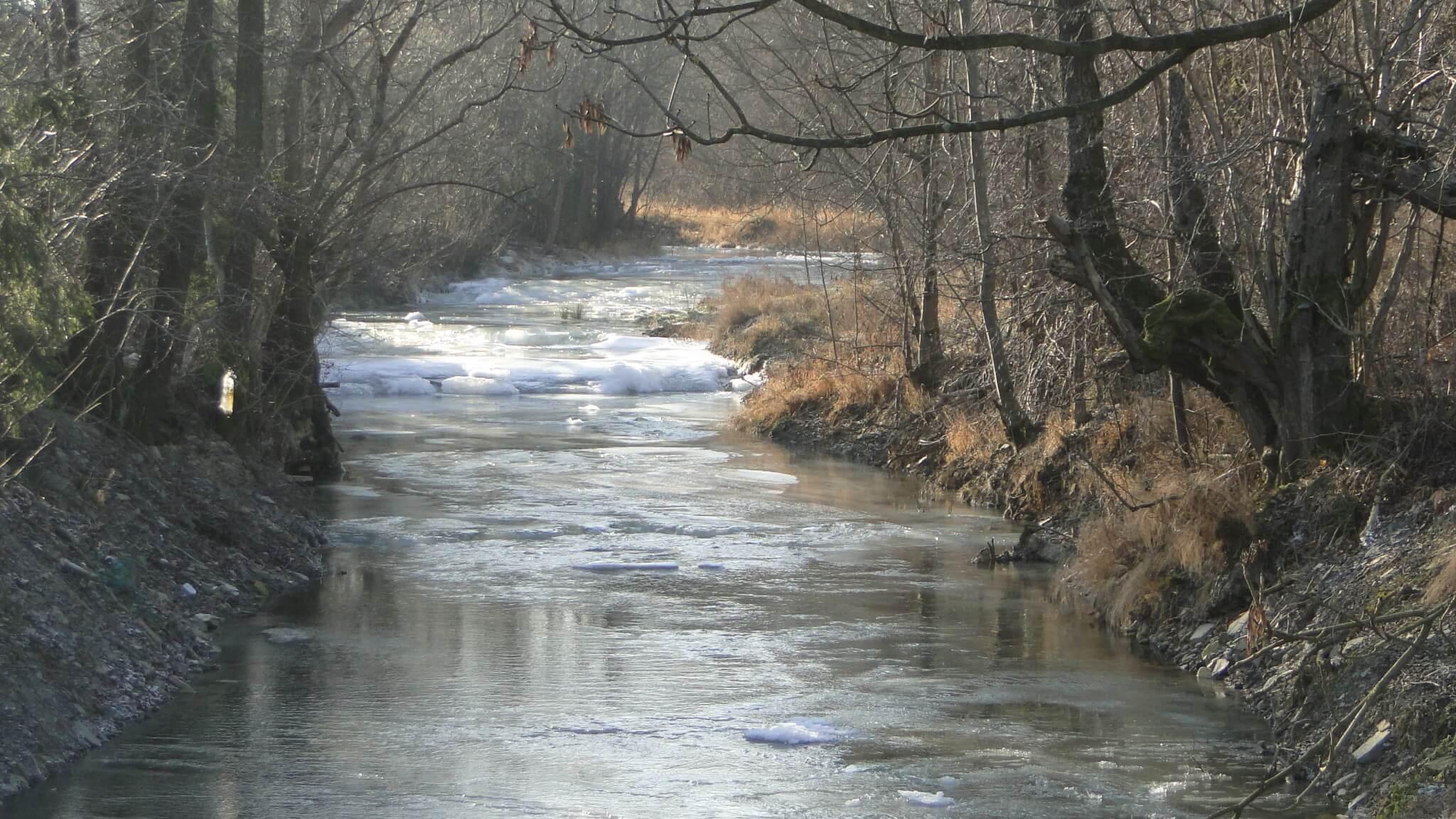 Rzeka Bełcza skuta lodem