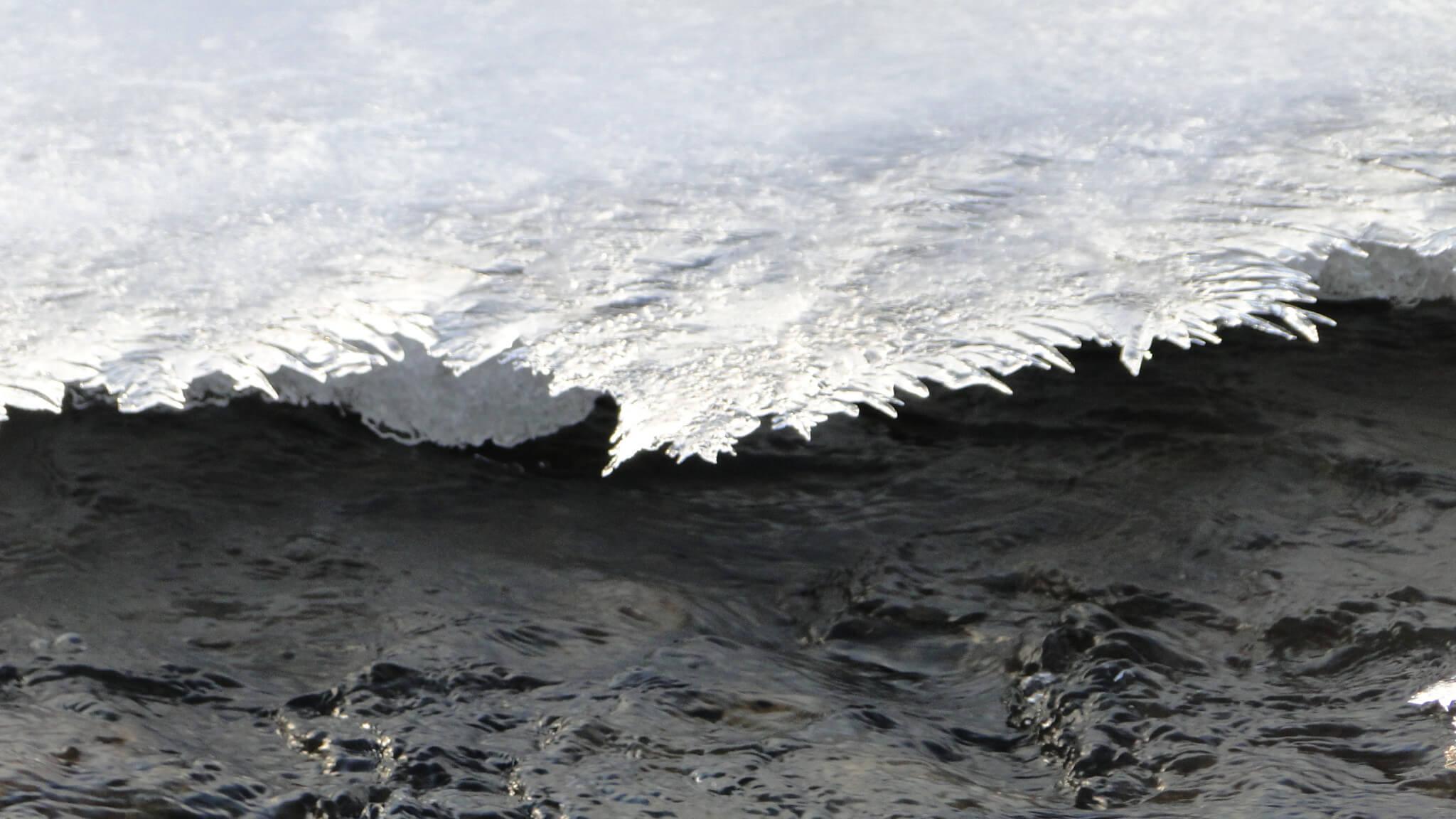 Rzeka Bełcza skuta lodem 5