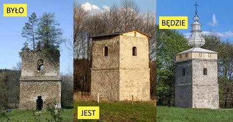 Dzwonnica w Polanach Surowicznych już prawie z kopułą!